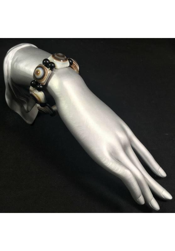 LARGE Buddha's Eye AGATE Bracelet Crystal Healing Chakra Zen Reiki Feng Shui A+-2