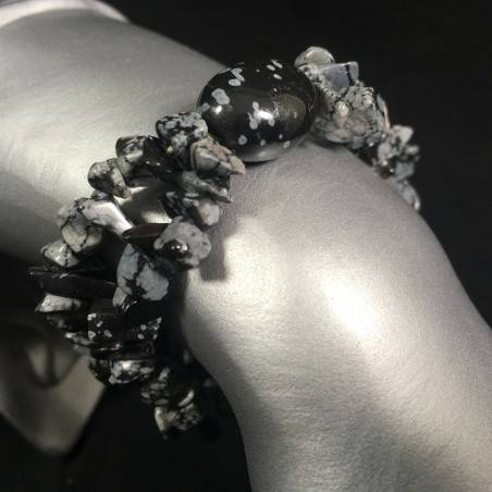 Natural Snow Flakes OBSIDIAN Bracelet Tumbled Chips Crystal Healing Chakra Reiki-1
