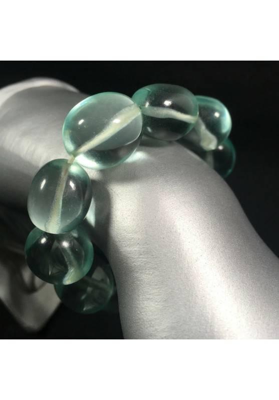 Tumbled stone Bracelet in Aqua Blue OBSIDIAN Crystal Healing Chakra A+-1