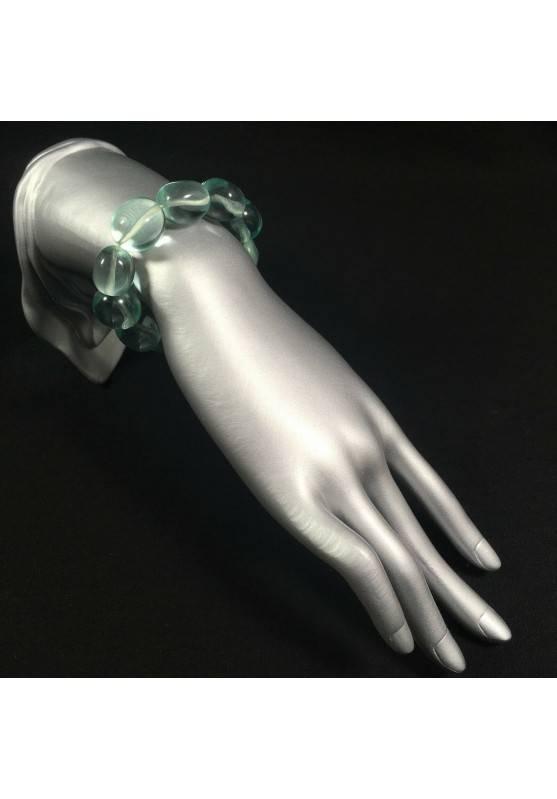 Tumbled stone Bracelet in Aqua Blue OBSIDIAN Crystal Healing Chakra A+-2