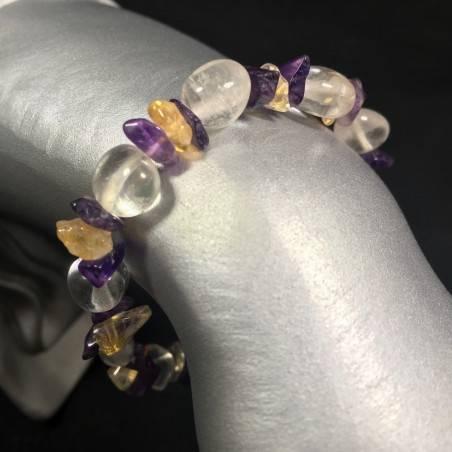 Bracelet in HYALINE CLEAR QUARTZ AMETHYST & CITRINE QUARTZ - SAGITTARIUS VIRGO-1