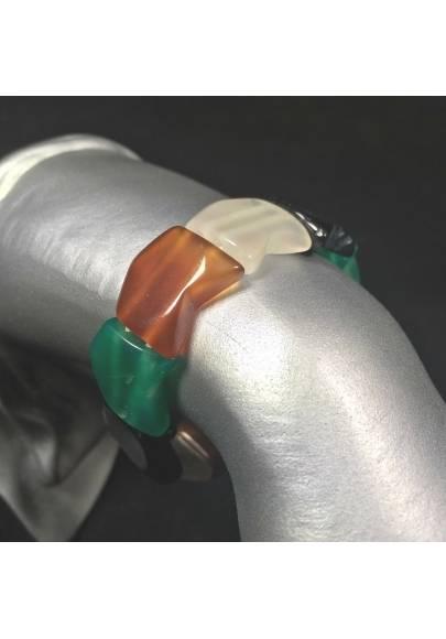Bracciale in AGATE MISTE Braccialetto Cristalloterapia Leone Cancro Toro Zen A+-1