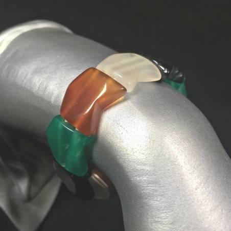 Bracelet in AGATE MIXED Bracelettto Crystal Healing LEO CANCER TAURUS Zen A+-1