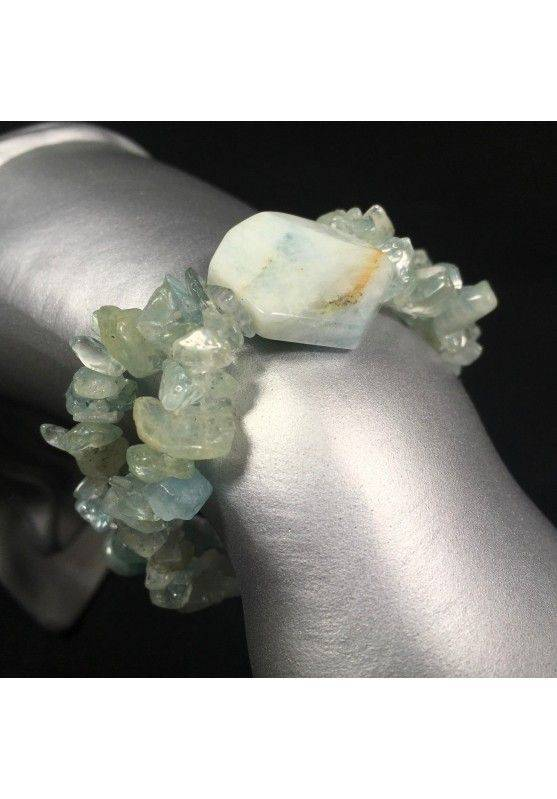 AQUAMARINE Tumbled Chips Bracelet Elasticated Crystal Healing Gift Idea A+-1
