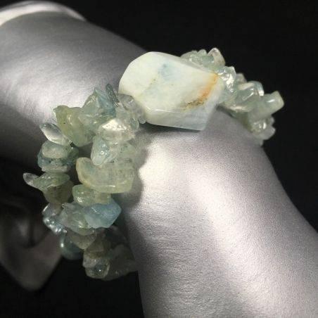 AQUAMARINE Tumbled Chips Bracelet Elasticated Crystal Healing Gift Idea A+-1