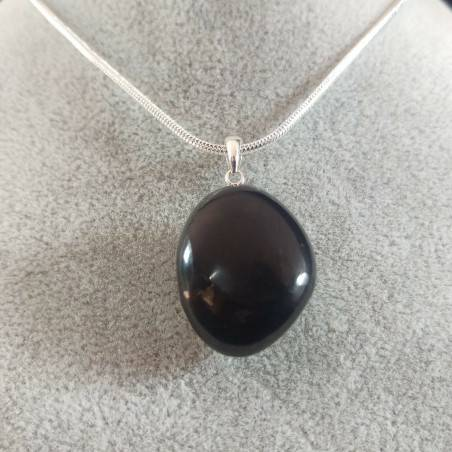 Pendant SHUNGITE Tumbled Stone Sterling Silver925 Charm Crystal Healing Chakra Jewel-1