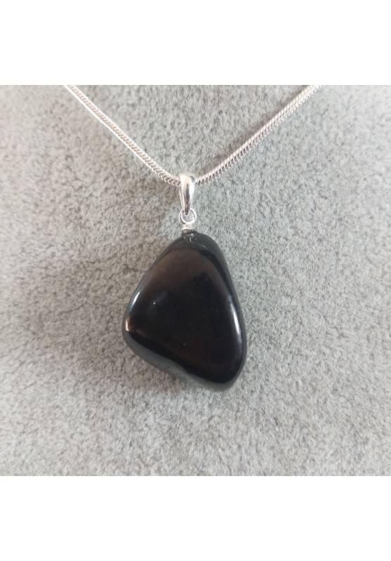 Pendant SHUNGITE Tumbled Stone Sterling Silver925 Charm Crystal Healing Chakra Jewel-2