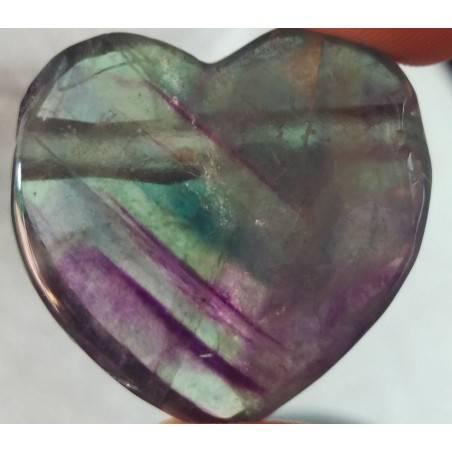 Rainbow FLUORITE Pendant HEART - Zodiac: CAPRICORN MINERALS Crystal Healing-1