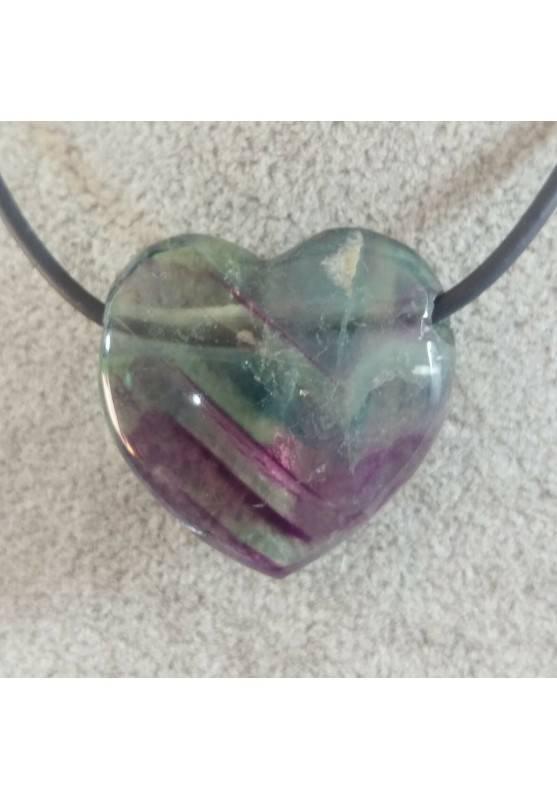 Rainbow FLUORITE Pendant HEART - Zodiac: CAPRICORN MINERALS Crystal Healing-2