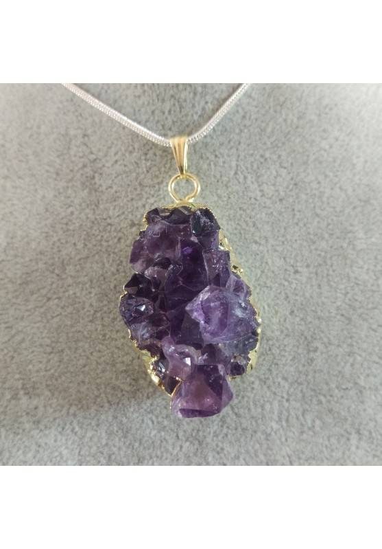 Pendant Gemstone in Gold AMETHYST Druzy BIG Necklace Crystal Healing Chakra-2