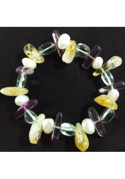 CITRINE YELLOW QUARTZ FLUORITE HYALINE QUARTZ & PEARL Bracelet Naturals-2
