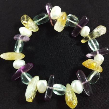 Braccialetto in Quarzo CITRINO FLUORITE e IALINO Bracciale con Perle Naturali-2