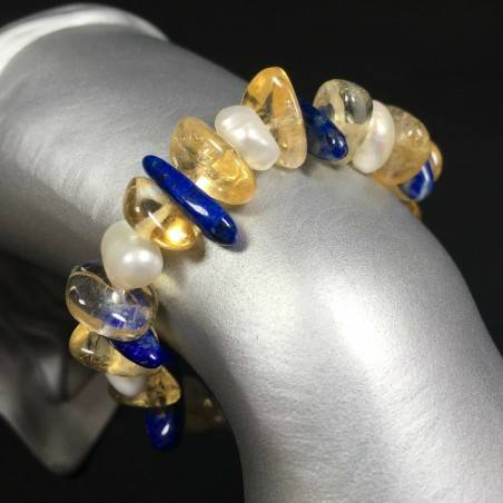 Bracelet in CITRINE QUARTZ LAPIS LAZULI & PEARL Naturals Reiki Crystal Healing-1