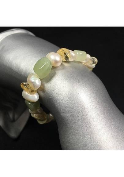 Green JADE & Citrine QUARTZ Bracelet whit PEARL Healing Stone Naturals Chakra-1