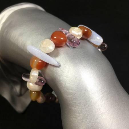 CHALCEDONY - CARNELIAN & FLUORITE Natural Bracelet whit PEARL A+ Healing Jewels-1