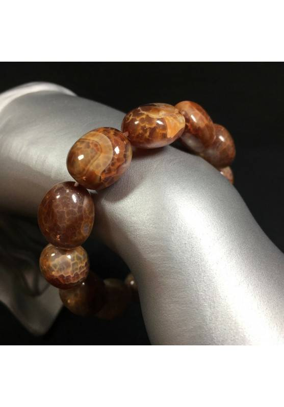 Bracelet in Brown AGATE - Cracked Brown Carnelian Agate Bracelet Beads -1