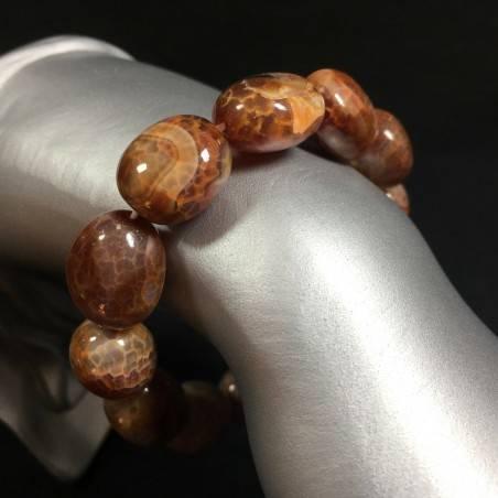 Bracelet in Brown AGATE - Cracked Brown Carnelian Agate Bracelet Beads -1