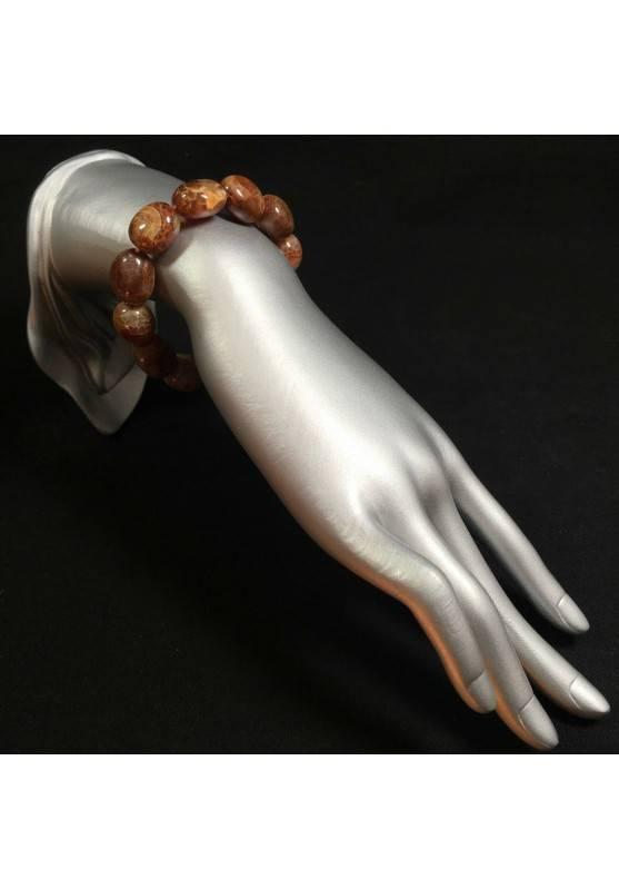 Bracelet in Brown AGATE - Cracked Brown Carnelian Agate Bracelet Beads -2