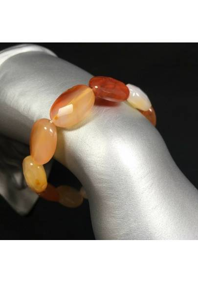 Bracelet in Facetted Carnelian AGATE Elasticated Minerals Stone Tumble Handmade-1