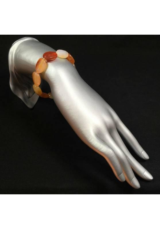 Braccialetto in AGATA CORNIOLA Sfaccettato Bracciale Facetted Carnelian Bracelet-2