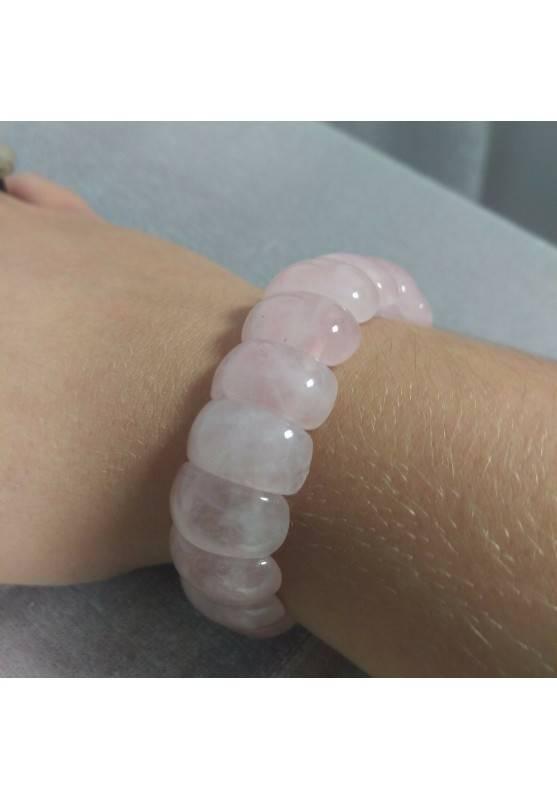 Braccialetto in Quarzo Rosa ALTA QUALITA' Bracciale Amore Rose Quarz Bracelet A+-1
