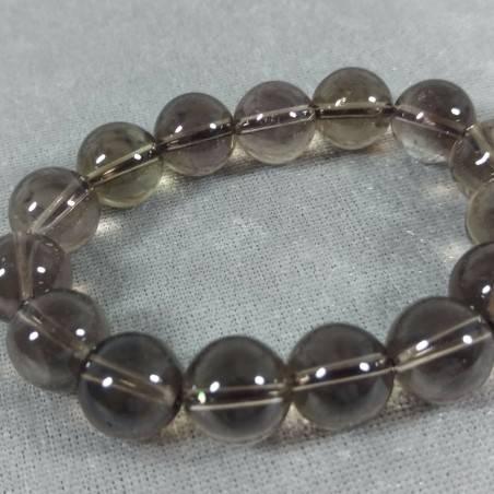 SMOKED QUARTZ Spherical Beads Bracelet 13mm Bead UNISEX Fumè QUARTZ Bracelet-1