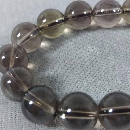 SMOKED QUARTZ Spherical Beads Bracelet 13mm Bead UNISEX Fumè QUARTZ Bracelet-2