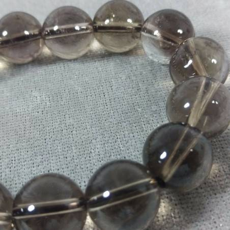 SMOKED QUARTZ Spherical Beads Bracelet 13mm Bead UNISEX Fumè QUARTZ Bracelet−3