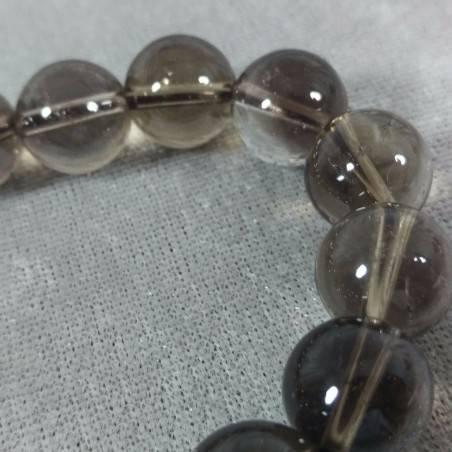 SMOKED QUARTZ Spherical Beads Bracelet 13mm Bead UNISEX Fumè QUARTZ Bracelet-4