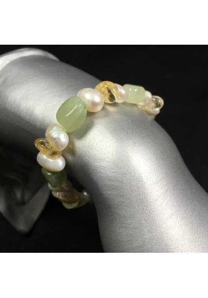 Green JADE & Citrine QUARTZ Bracelet whit PEARL Healing Stone Naturals Beads-1