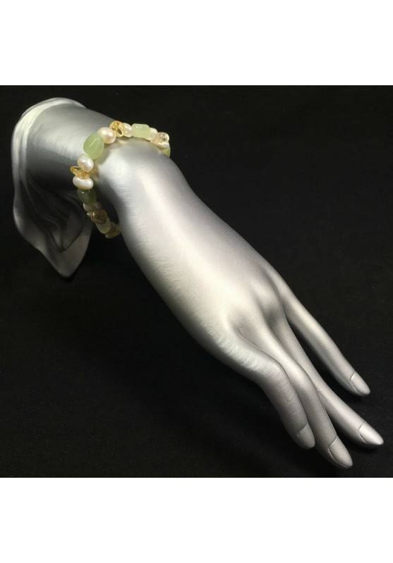 Green JADE & Citrine QUARTZ Bracelet whit PEARL Healing Stone Naturals Beads-2