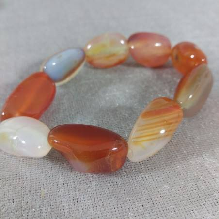 Bracelet in CARNELIAN RED AGATET Tumbled Stone Bracelet Jewels Crystal Therapy−3