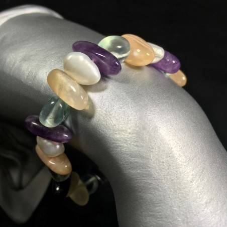 Adularia MOON STONE - Purple Fluorite and CLEAR QUARTZ Bracelet with PEARL-1