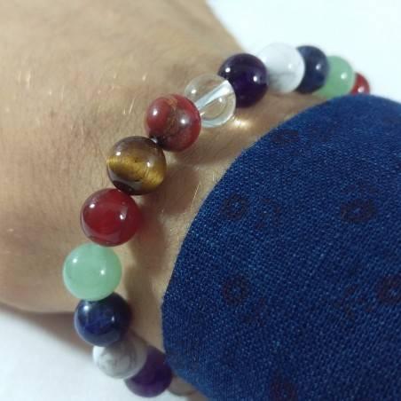 7 Chakra - Seven Chakra Bracelet Carnelian Rose Quartz Red Jasper Clear Quartz Beads-1