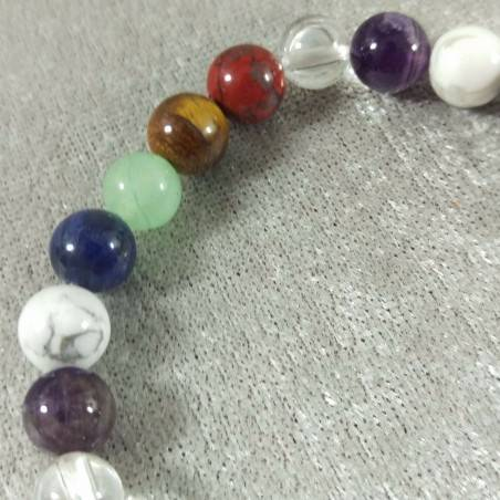 7 Chakra - Seven Chakra Bracelet Carnelian Rose Quartz Red Jasper Clear Quartz Beads-4