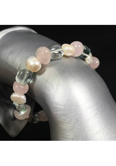 Rose Quartz & Hyaline Rock Crystal Bracelet with PEARL Naturals Natural Stone-1