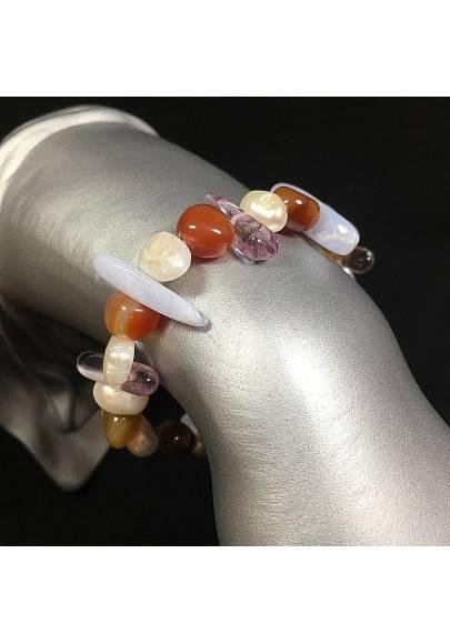 CHALCEDONY - CARNELIAN & FLUORITE Natural Bracelet whit PEARL Gemstone-1