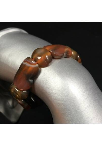 Bracelet in RED CARNELIAN AGATE MINERALS Polished Crystal Healing A+-1