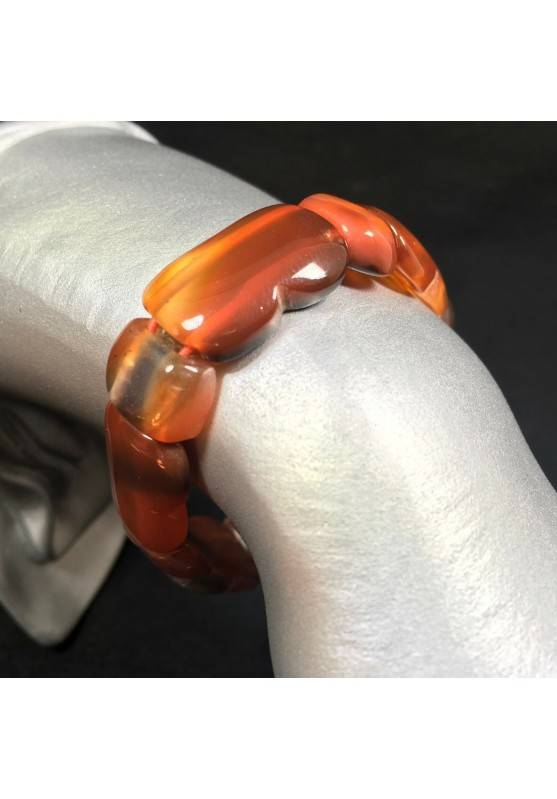 Bracelet in RED CARNELIAN AGATE MINERALS Polished Crystal Healing A+−3