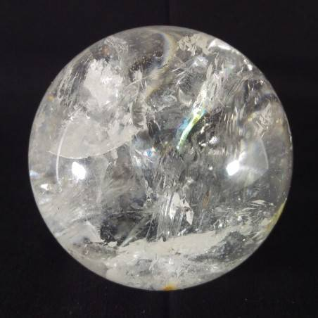 MINERALS * Natural Rainbow Clear QUARTZ CRYSTAL SPHERE Ball 7cm with Stand-1