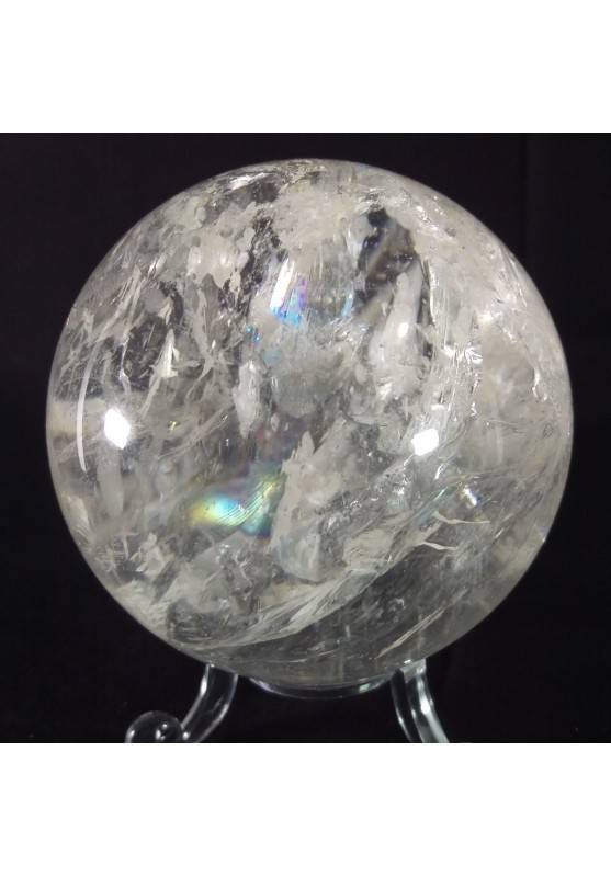 MINERALS * Natural Rainbow Clear QUARTZ CRYSTAL SPHERE Ball 7cm with Stand−3