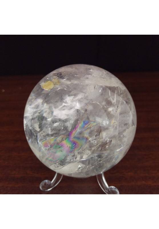 MINERALS * Natural Rainbow Clear QUARTZ CRYSTAL SPHERE Ball 7cm with Stand-4