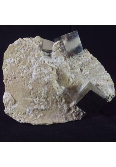 MINERALS * Cubic Pyrite on Matrix from Navajun Spain 74x32x56mm - Specimen-1