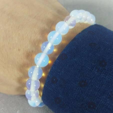 Bracelet in Spherical Beads of OPALITE Quartz 9mm Unisex Jewel MINERALS Zen-1