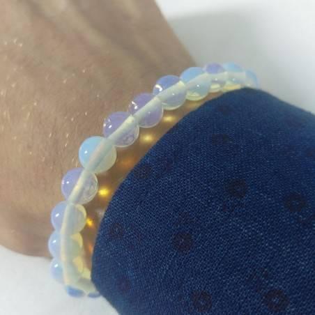 Bracelet in Spherical Beads of OPALITE Quartz 9mm Unisex Jewel MINERALS Zen-5