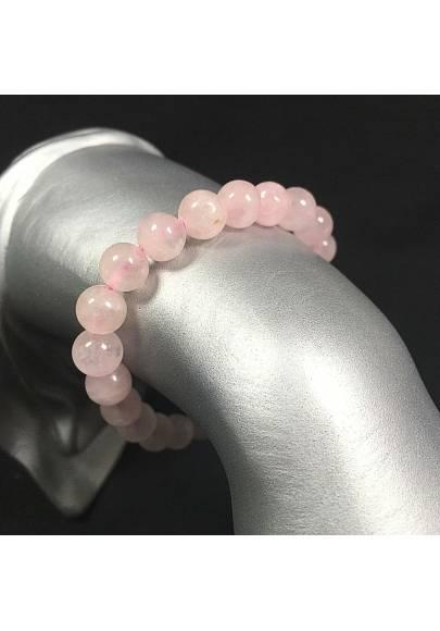 Braccialetto in Quarzo Rosa Bracciale a Sfere 9mm Unisex Gioiello Minerali Zen-1