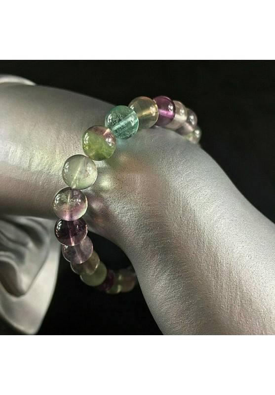Bracelet in Rainbow Fluorite Green / Purple Spherical Beads 9mm Unisex MINERALS A+-1