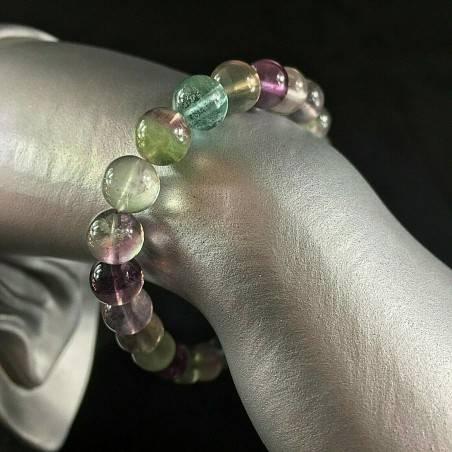 Braccialetto in Fluorite Verde e Viola Bracciale a Sfere 9mm Unisex Minerali A+-1