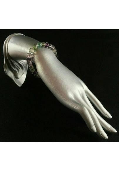 Bracelet in Rainbow Fluorite Green / Purple Spherical Beads 9mm Unisex MINERALS A+-2