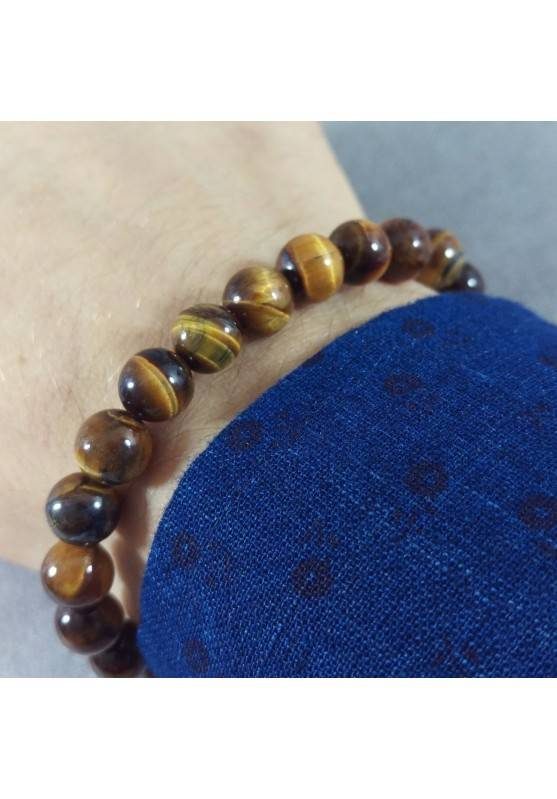 Tiger's Eye Spherical Beads Bracelet 9mm UNISEX MINERALS Chakra A+-1